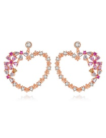 Fashion Rose Gold Copper Inlaid Zirconium Heart Shaped Snow Earrings