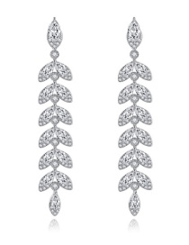 Fashion Platinum Leaf Copper Inlay Zircon Earrings