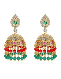 Fashion Green Copper Inlaid Zirconium Hollow Earrings