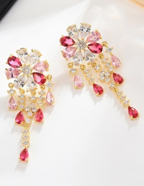 Fashion Gold Flower Drop Micro-inlaid Zircon Earrings