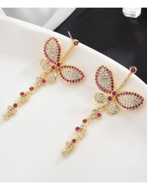 Fashion Red Butterfly Micro Inlaid Zircon Earrings