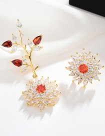 Fashion Gold S925 Sterling Silver Needle Micro-inlaid Zircon Branches Three-dimensional Flower Asymmetric Earrings