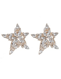 Fashion White Pentagram Earrings: Colored Diamonds: Micro-set