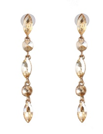 Fashion Gold Drop-shaped Colored Diamond Micro-set Earrings