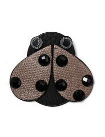 Fashion Brown Ladybug Leather Brooch