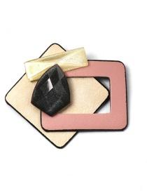 Fashion Pink Geometric Diamond-studded Resin Brooch
