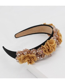 Fashion Yellow Crystal Fabric Flower Headband