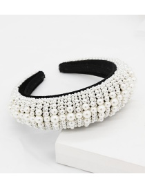 Fashion Black Full Pearl Sponge Headband