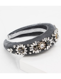 Fashion Gray Diamond Sun Flower Sponge Headband