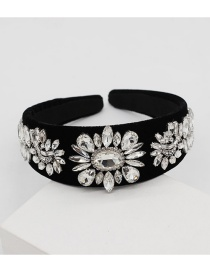 Fashion Black Full Diamond Geometric Flower Headband