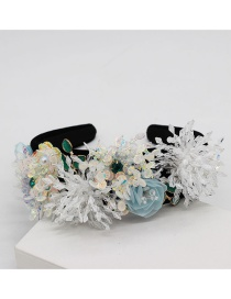 Fashion White Crystal Fringed Geometric Flower Headband