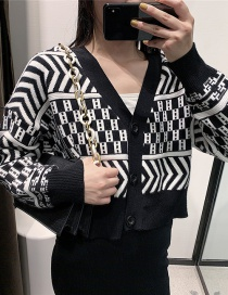 Fashion Black Black And White Arrow Geometric Cardigan
