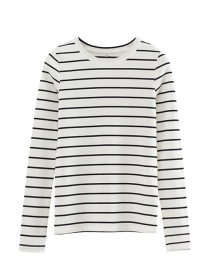 Fashion White Black Strip Striped Bottoming T-shirt