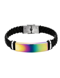 Fashion Color Stainless Steel Magnetic Buckle Leather Bracelet