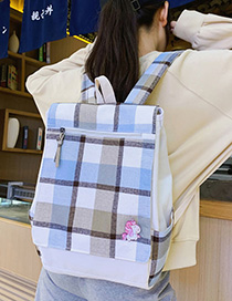Fashion Light Blue Canvas Plaid Backpack