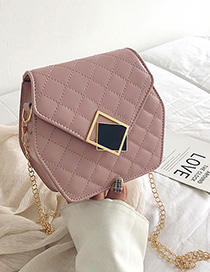Fashion Pink Embroidery Thread Hex Square Lock Single Shoulder Diagonal Package