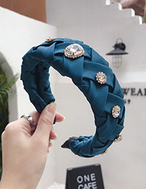 Fashion Hole Blue Cross-knit Pleated Wide-edge Alloy Rhinestone Headband