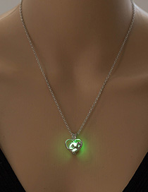 Fashion White K+ Yellow Green Fox Love Heart Shaped Necklace