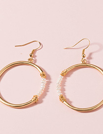 Fashion Gold Rice Beads Round Earrings