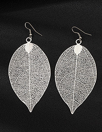 Fashion Silver Alloy Leaf Earrings