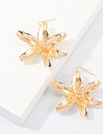 Fashion Gold Floral Paint Earrings