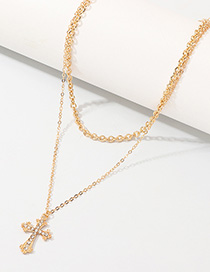 Fashion Gold Cross-studded Double-layer Necklace