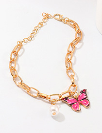 Fashion Rose Red Butterfly Pearl Bracelet