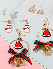 Fashion Color Cartoon Snowman With Bow Bells And Earrings