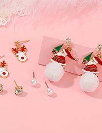Fashion Color Santa Claus Elk Earrings Set