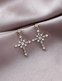 Fashion Gold 925 Silver Needle Crystal Zircon Cross Earrings
