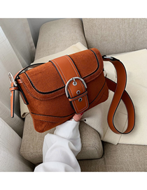 Fashion Brown Frosted Contrast Splicing Shoulder Crossbody Bag