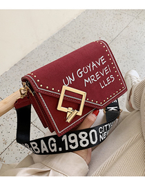 Fashion Red Frosted Letter Print Crossbody Bag