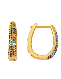 Fashion Ear Ring Micro-inlaid Zircon U-shaped Full-studded Earrings