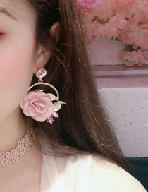 Fashion Pink Alloy Diamond-studded Fabric Flower Pearl Stud Earrings