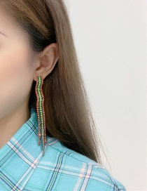 Fashion Color Alloy Fringed Stud Earrings