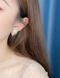 Fashion Yellow Alloy Hollow Love Diamond Stud Earrings