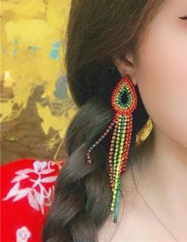 Fashion Color Alloy Studded Tassel Earrings
