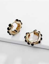 Fashion Black Copper Fittings Open Pearl Earrings