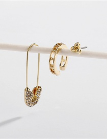 Fashion Gold Alloy Diamond Stud Earrings