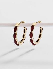 Fashion Red Copper Fittings Open The Horse Eye Earrings