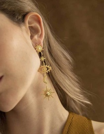 Fashion Gold Openwork Eye Moon Earrings