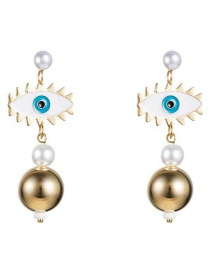 Fashion Gold Eye Pearl Earrings