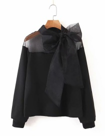 Fashion Black Lace-up Organza Shirt
