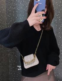 Fashion White Woolen Plaid Chain Shoulder Messenger Bag
