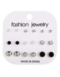 Fashion Silver Floral English Letters Love Earrings Set 9 Pairs