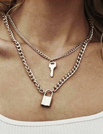 Fashion Gold Key Lock Multi-layer Necklace