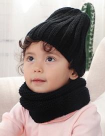 Fashion Black Children's Scarf Hat Two-piece