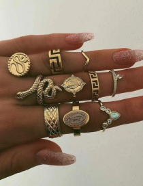 Fashion Gold Character Set With Diamond Ring 10 Sets