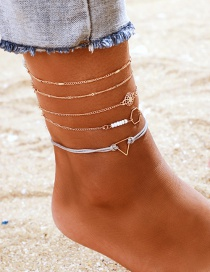 Fashion Gold Hollow Sun Flower Round Rice Beads Geometric Triangle Anklet 5 Piece Set