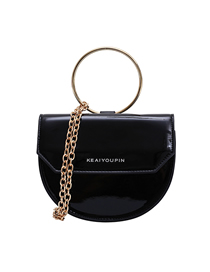 Fashion Black Trumpet Chain Semi-circular Shoulder Bag